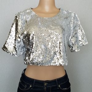 Lovers + Friends Sz M Sequins Crop Top Clubwear